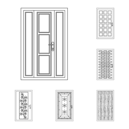 Isolated object of door and front sign. Set of door and wooden vector icon for stock. Illustration
