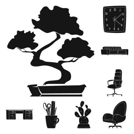 Vector illustration of furniture and work logo. Set of furniture and home stock vector illustration. Ilustração