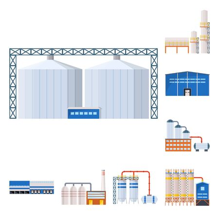 Vector illustration of industry and building icon. Set of industry and construction vector icon for stock.
