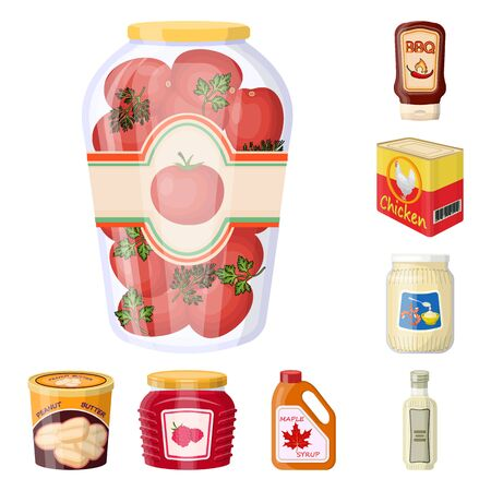 Isolated object of can and food sign. Set of can and package vector icon for stock. Illustration