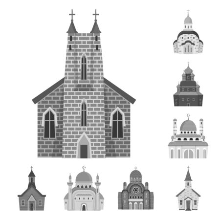 Vector illustration of architecture and faith icon. Collection of architecture and traditional stock symbol for web.