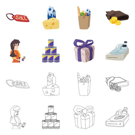 Vector illustration of food and drink symbol. Collection of food and store stock vector illustration.