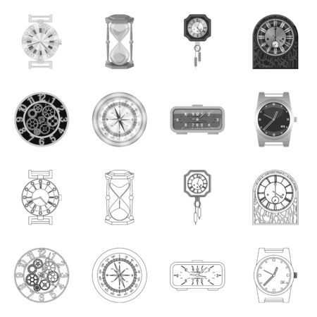 Vector illustration of clock and time symbol. Collection of clock and circle stock vector illustration.
