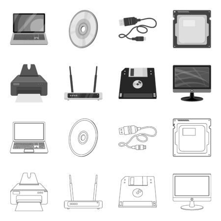 Vector illustration of laptop and device sign. Collection of laptop and server stock symbol for web. Ilustracja