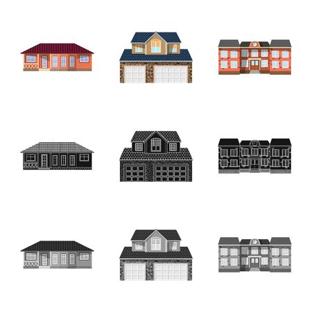 Isolated object of building and front symbol. Collection of building and roof vector icon for stock.