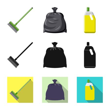 Vector illustration of cleaning and service logo. Set of cleaning and household vector icon for stock.