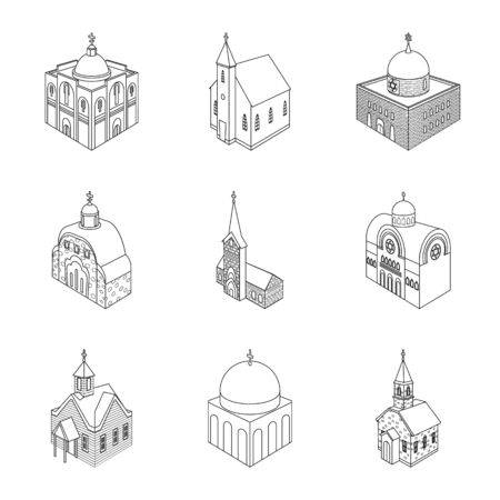 Vector illustration of architecture and building sign. Set of architecture and clergy stock symbol for web.