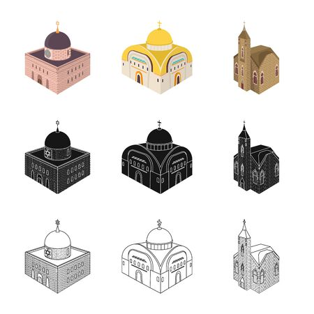 Isolated object of temple and historic symbol. Collection of temple and faith stock symbol for web.