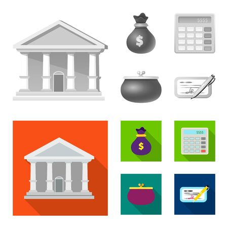 Vector illustration of bank and money symbol. Set of bank and bill vector icon for stock.