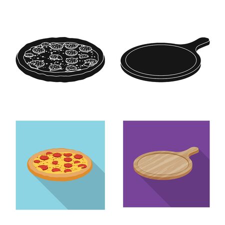 Isolated object of pizza and food sign. Collection of pizza and italy stock symbol for web.