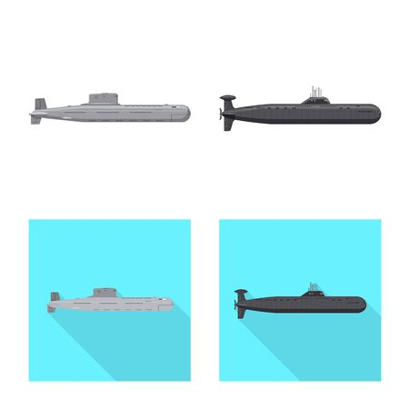 Vector illustration of war and ship sign. Collection of war and fleet vector icon for stock. Illustration