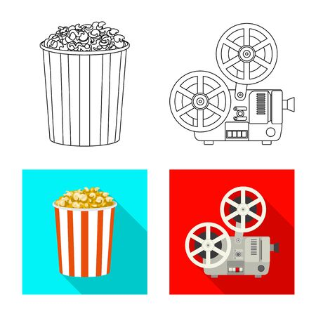 Isolated object of television and filming symbol. Set of television and viewing stock vector illustration.