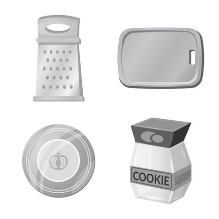 Vector design of kitchen and cook logo. Collection of kitchen and appliance vector icon for stock.
