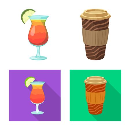 Vector illustration of drink and bar logo. Collection of drink and party vector icon for stock.