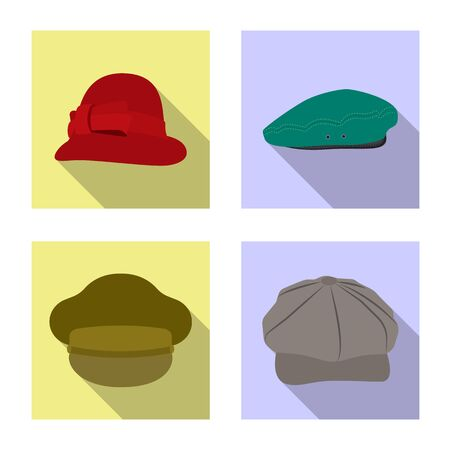 Vector illustration of headgear and cap logo. Collection of headgear and accessory stock vector illustration. Ilustração