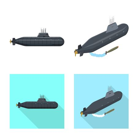 Vector illustration of war and ship logo. Collection of war and fleet stock symbol for web.