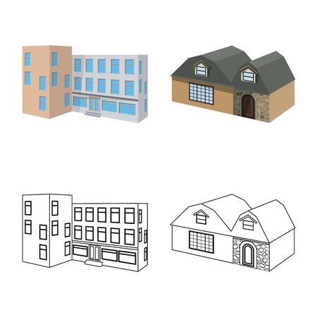 Isolated object of facade and housing symbol. Collection of facade and infrastructure stock symbol for web.
