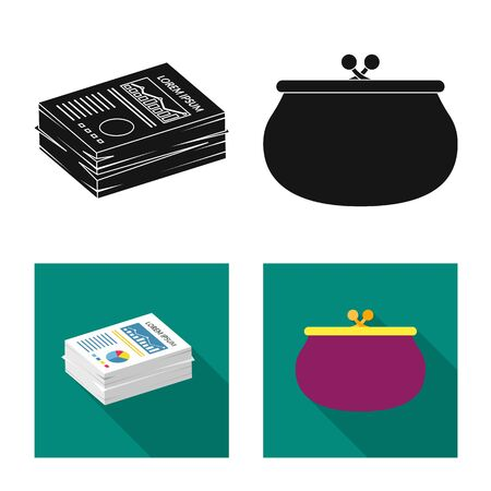 Isolated object of bank and money icon. Collection of bank and bill vector icon for stock.