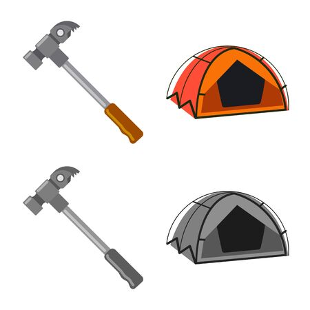 Vector design of mountaineering and peak icon. Set of mountaineering and camp vector icon for stock.