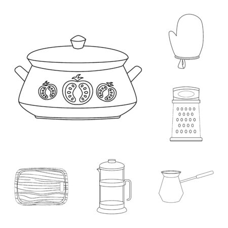 Isolated object of kitchen and cook logo. Set of kitchen and appliance stock vector illustration.