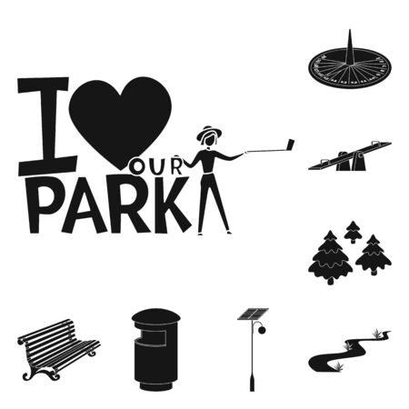 Isolated object of public and relaxation symbol. Collection of public and park stock symbol for web.