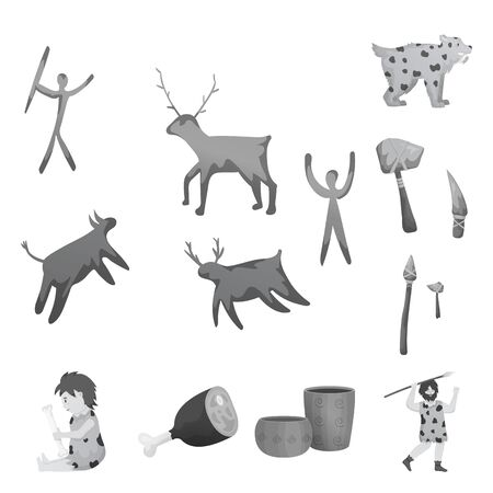 Isolated object of history and era symbol. Collection of history and neolithic stock symbol for web.