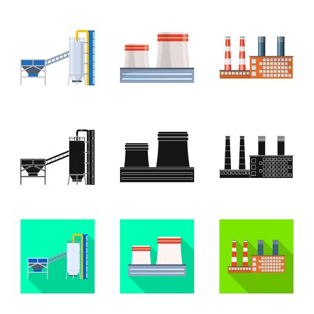 Vector design of production and structure logo. Collection of production and technology stock symbol for web.