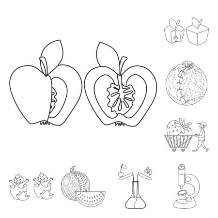 Isolated object of genetic and science icon. Set of genetic and organic vector icon for stock.
