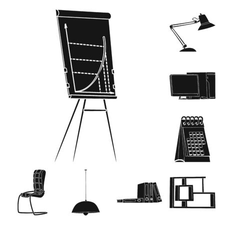 Vector design of furniture and work icon. Collection of furniture and home stock vector illustration. Ilustracja