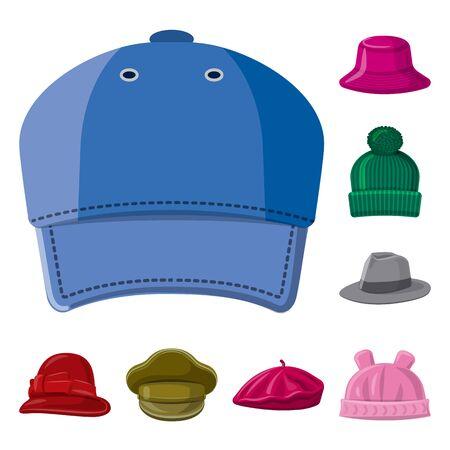 Il design del vettore di copricapo e segno di berretto. Collezione di copricapo e simbolo di borsa accessorio per il web. Vettoriali