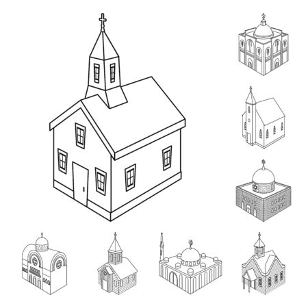 Vector illustration of architecture and building symbol. Collection of architecture and clergy stock symbol for web.
