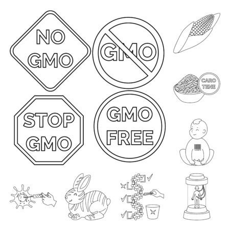 Vector design of genetic and science sign. Set of genetic and organic stock vector illustration.