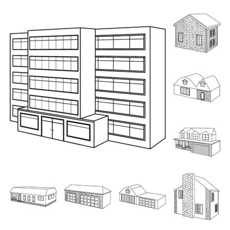 Vector design of city and construction icon. Set of city and estate vector icon for stock.
