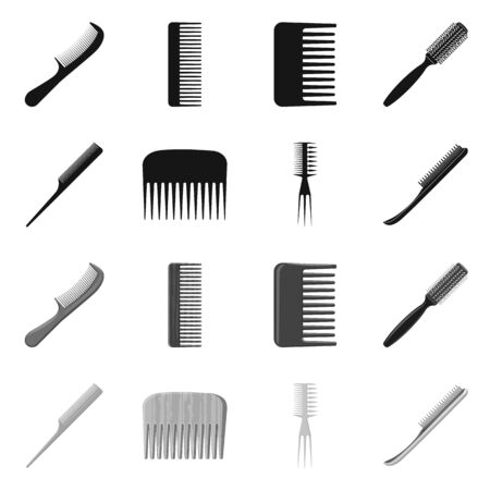 Vector illustration of brush and hair icon. Set of brush and hairbrush stock vector illustration.