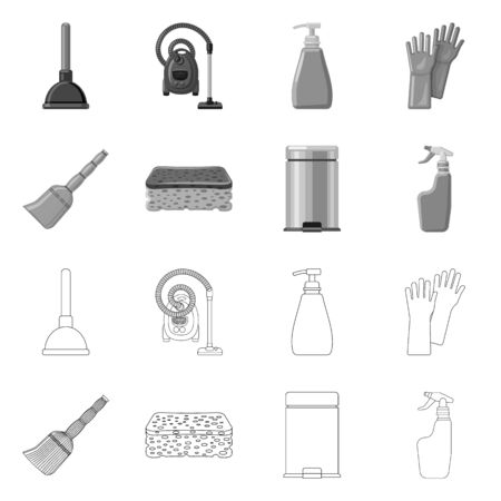 Vector design of cleaning and service symbol. Set of cleaning and household stock symbol for web. Ilustrace