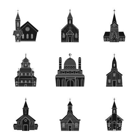 Diseño vectorial de signo de casa y parroquia. Conjunto de ilustración de vector stock casa y edificio.