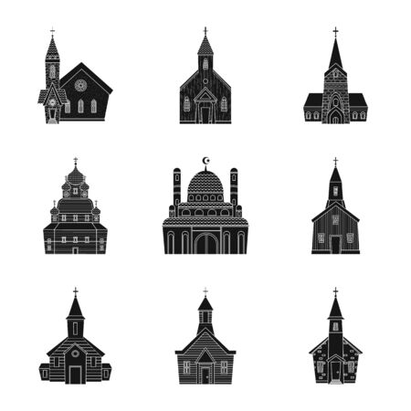 Vector design of house and parish sign. Set of house and building stock vector illustration.