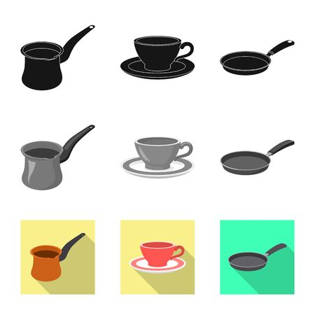 Isolated object of kitchen and cook logo. Set of kitchen and appliance stock symbol for web.