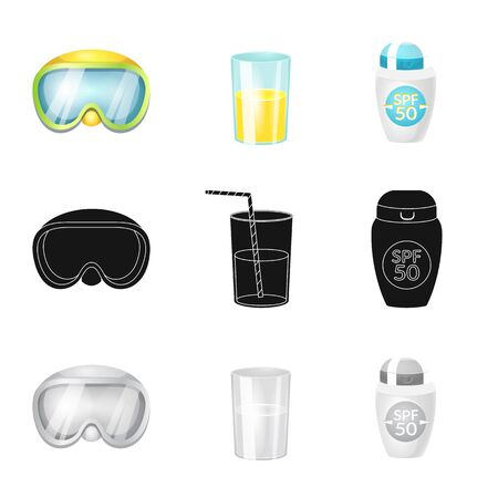 Vector illustration of equipment and swimming icon. Set of equipment and activity stock symbol for web. Illustration