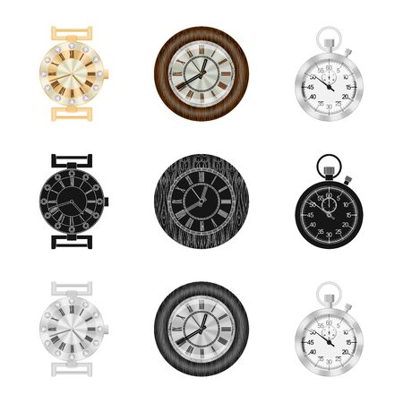 Isolated object of clock and time symbol. Set of clock and circle vector icon for stock.