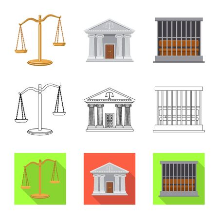 Vector design of law and lawyer icon. Collection of law and justice vector icon for stock. Иллюстрация