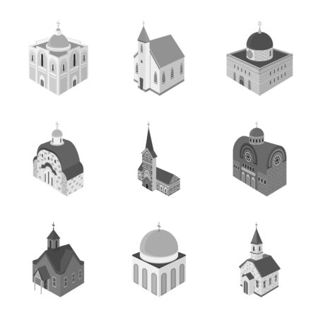 Vector design of landmark and clergy sign. Collection of landmark and religion stock vector illustration.