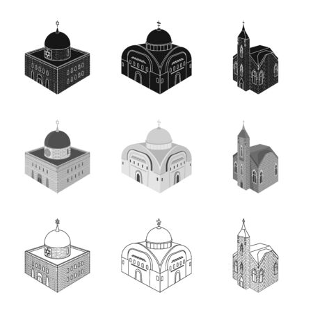Isolated object of temple and historic logo. Set of temple and faith stock vector illustration.