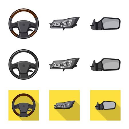 Vector illustration of auto and part symbol. Collection of auto and car vector icon for stock.