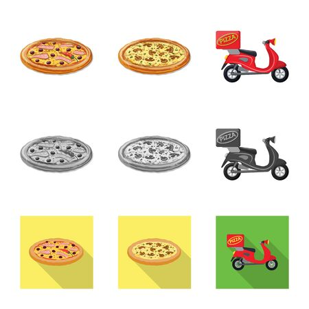 Vector illustration of pizza and food logo. Set of pizza and italy stock symbol for web.