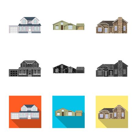 Vector illustration of building and front sign. Collection of building and roof vector icon for stock.