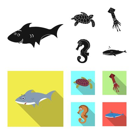 Vector illustration of sea and animal sign. Collection of sea and marine stock vector illustration.