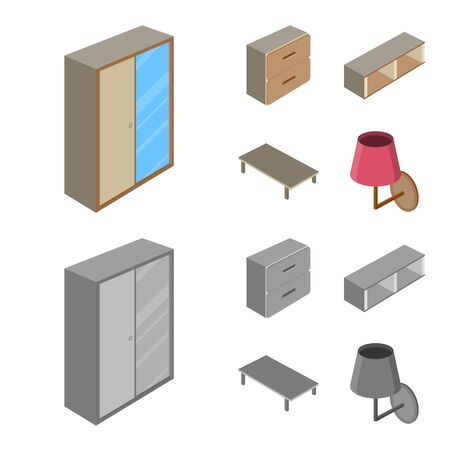 Vector design of bedroom and room logo. Collection of bedroom and furniture vector icon for stock.