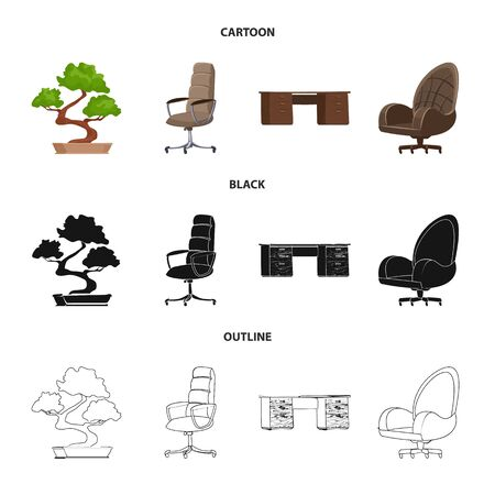 Vector illustration of furniture and work icon. Collection of furniture and home stock vector illustration.