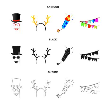 Vector design of party and birthday icon. Set of party and celebration stock symbol for web. Çizim